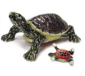 Painted Turtle Rose Porcelain Figurine